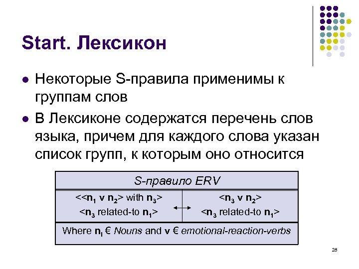 Start. Лексикон l l Некоторые S-правила применимы к группам слов В Лексиконе содержатся перечень