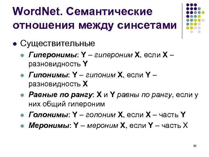 Word. Net. Семантические отношения между синсетами l Существительные l l l Гиперонимы: Y –