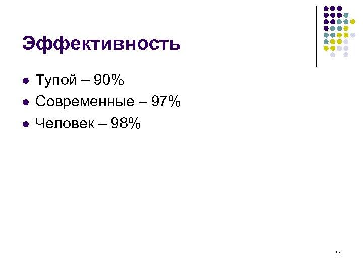Эффективность l l l Тупой – 90% Современные – 97% Человек – 98% 57
