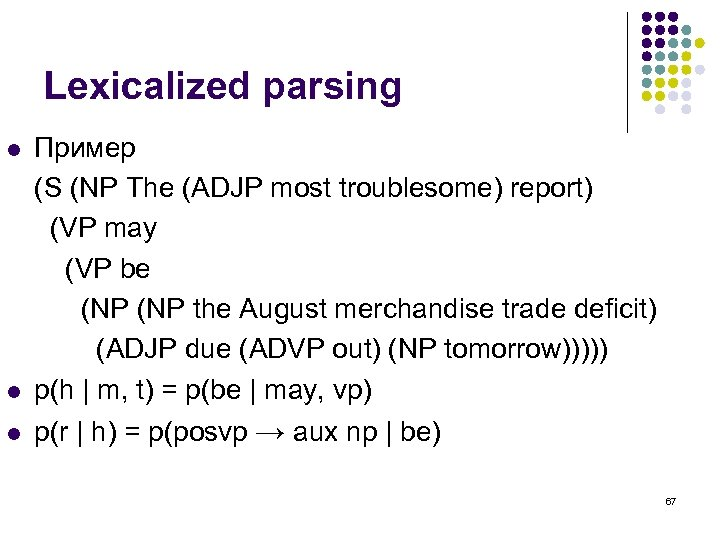 Lexicalized parsing l Пример (S (NP The (ADJP most troublesome) report) (VP may (VP