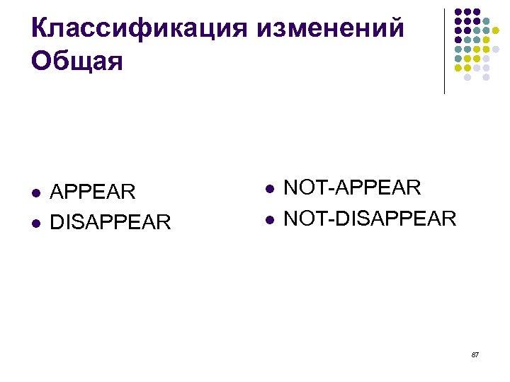 Классификация изменений Общая l l APPEAR DISAPPEAR l l NOT-APPEAR NOT-DISAPPEAR 87