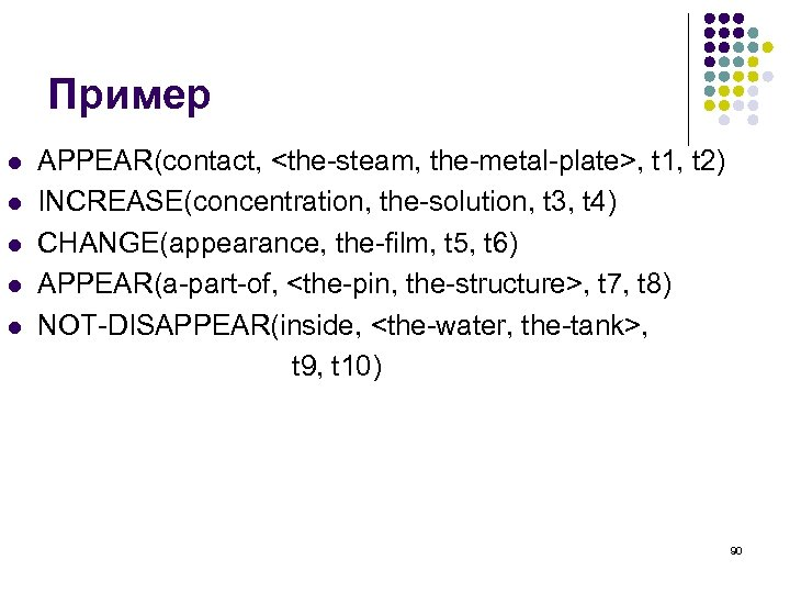 Пример l l l APPEAR(contact, <the-steam, the-metal-plate>, t 1, t 2) INCREASE(concentration, the-solution, t