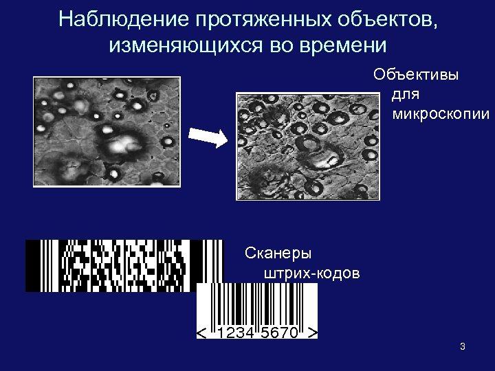 Наблюдение протяженных объектов, изменяющихся во времени Объективы для микроскопии Сканеры штрих-кодов 3