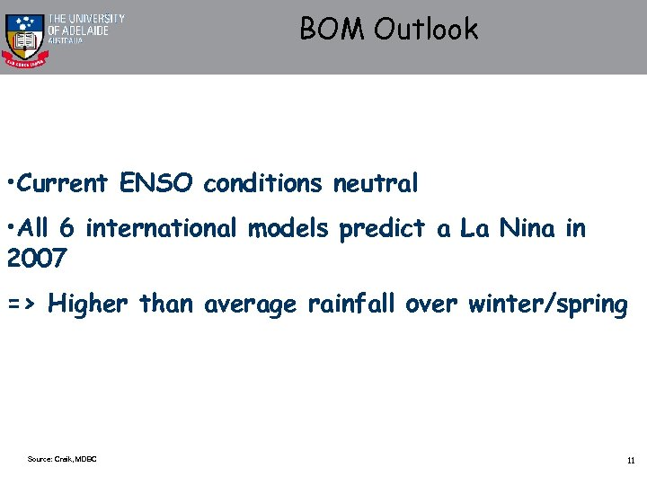 BOM Outlook • Current ENSO conditions neutral • All 6 international models predict a
