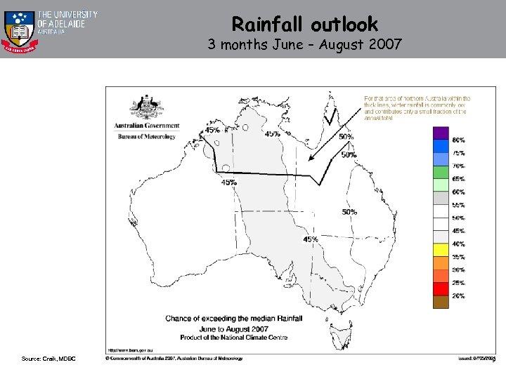 Rainfall outlook 3 months June – August 2007 Source: Craik, MDBC 9