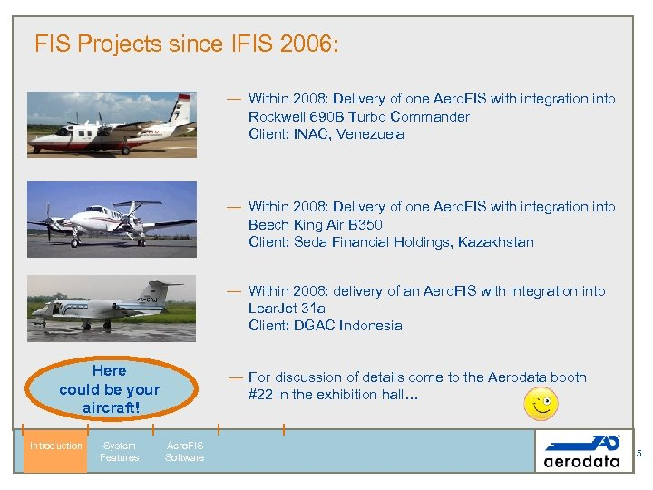 FIS Projects since IFIS 2006: — Within 2008: Delivery of one Aero. FIS with