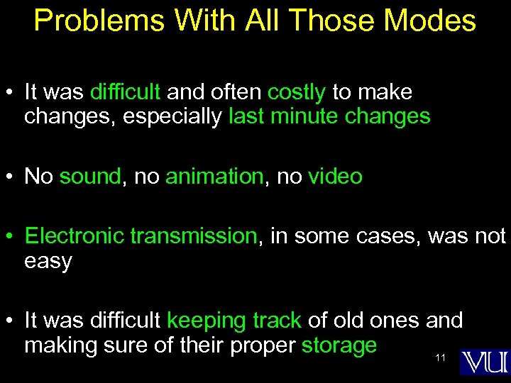 Problems With All Those Modes • It was difficult and often costly to make