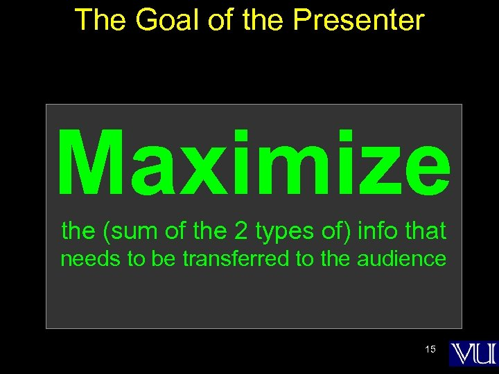 The Goal of the Presenter Maximize the (sum of the 2 types of) info