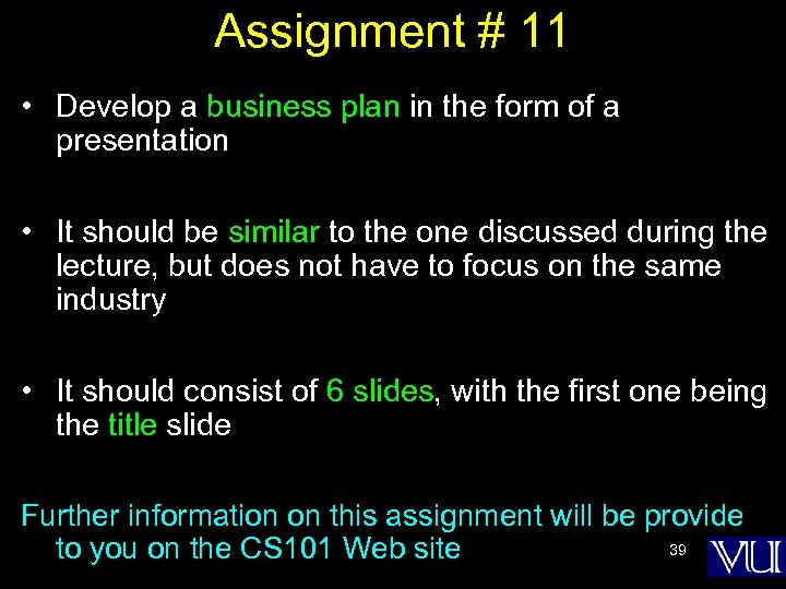 Assignment # 11 • Develop a business plan in the form of a presentation