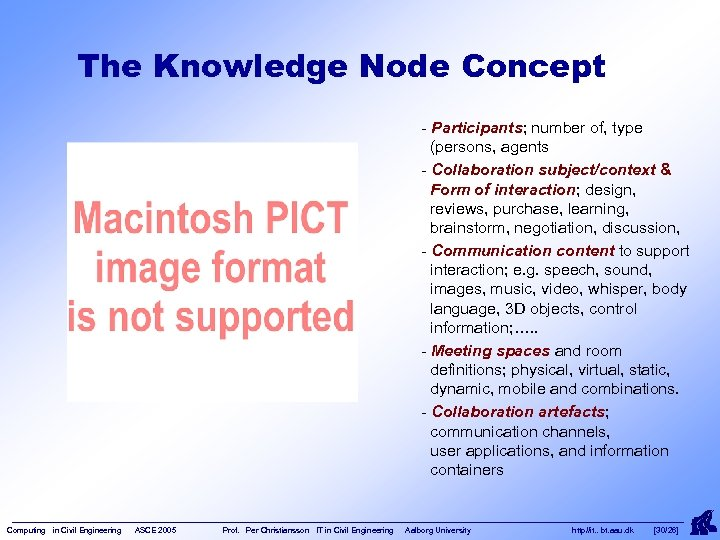 The Knowledge Node Concept - Participants; number of, type (persons, agents - Collaboration subject/context