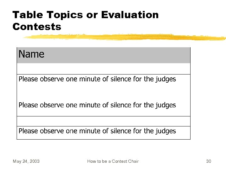 Table Topics or Evaluation Contests May 24, 2003 How to be a Contest Chair