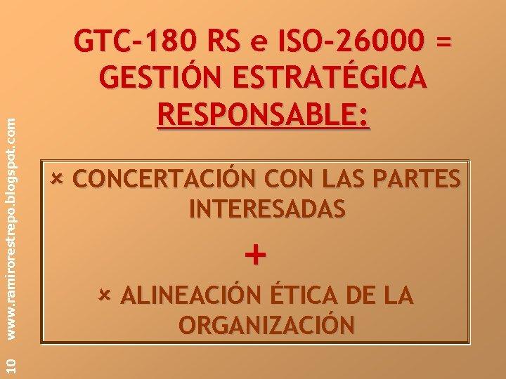 www. ramirorestrepo. blogspot. com 10 GTC-180 RS e ISO-26000 = GESTIÓN ESTRATÉGICA RESPONSABLE: CONCERTACIÓN