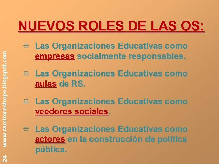 24 www. ramirorestrepo. blogspot. com NUEVOS ROLES DE LAS OS: ° Las Organizaciones Educativas