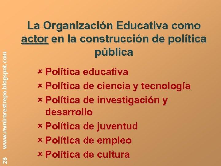 www. ramirorestrepo. blogspot. com 28 La Organización Educativa como actor en la construcción de