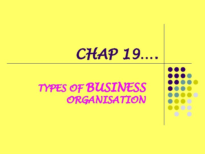 CHAP 19…. TYPES OF BUSINESS ORGANISATION
