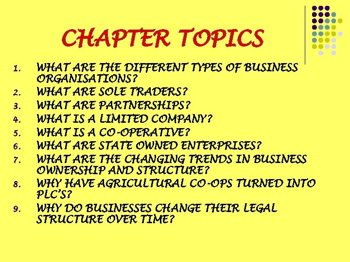 CHAPTER TOPICS 1. 2. 3. 4. 5. 6. 7. 8. 9. WHAT ARE THE