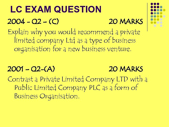 LC EXAM QUESTION 2004 - Q 2 – (C) 20 MARKS Explain why you