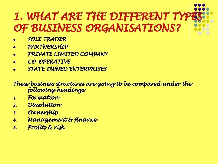 1. WHAT ARE THE DIFFERENT TYPES OF BUSINESS ORGANISATIONS? l l l SOLE TRADER