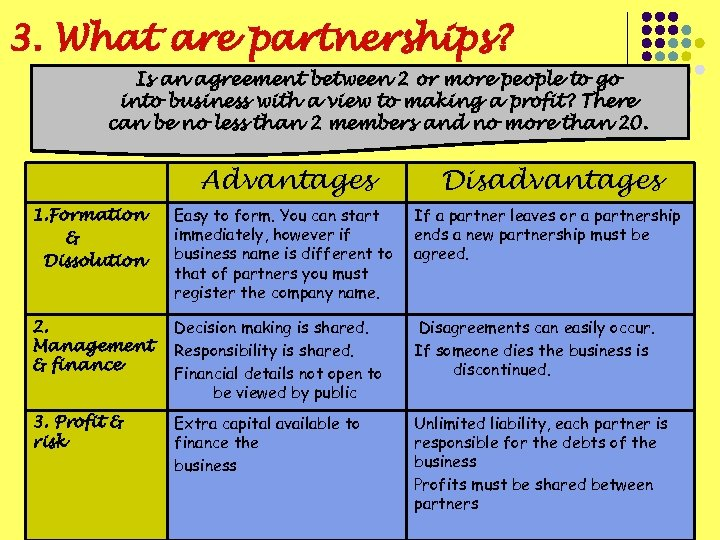3. What are partnerships? Is an agreement between 2 or more people to go