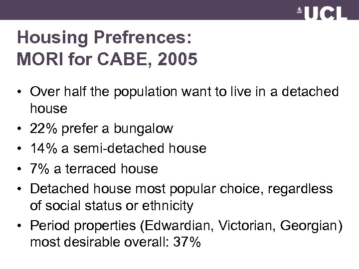 Housing Prefrences: MORI for CABE, 2005 • Over half the population want to live