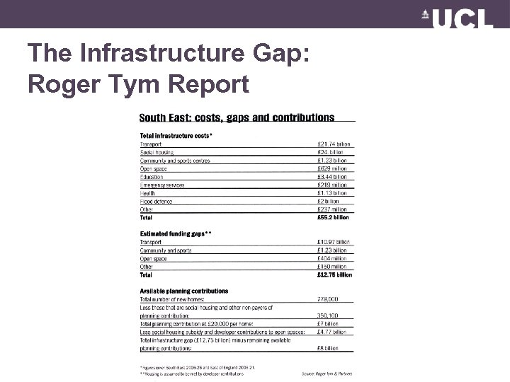 The Infrastructure Gap: Roger Tym Report