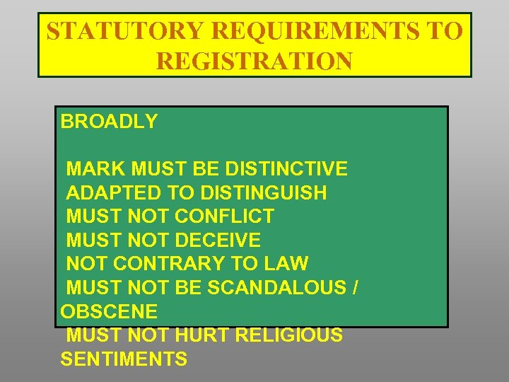 STATUTORY REQUIREMENTS TO REGISTRATION BROADLY MARK MUST BE DISTINCTIVE ADAPTED TO DISTINGUISH MUST NOT