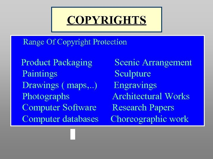 COPYRIGHTS Range Of Copyright Protection Product Packaging Paintings Drawings ( maps, . . )