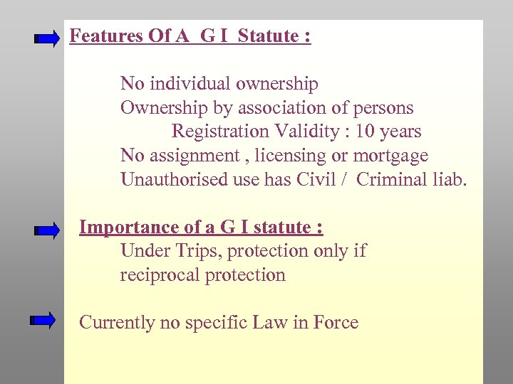 Features Of A G I Statute : No individual ownership Ownership by association of