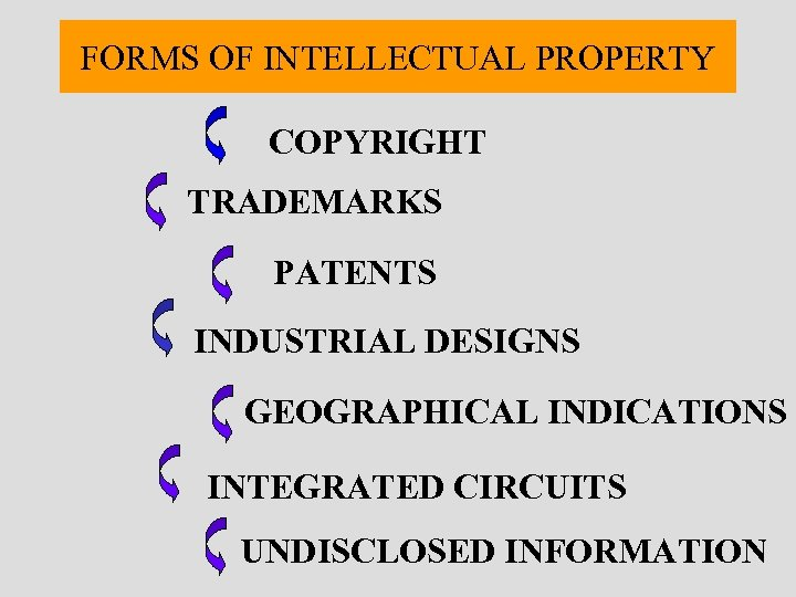 FORMS OF INTELLECTUAL PROPERTY COPYRIGHT TRADEMARKS PATENTS INDUSTRIAL DESIGNS GEOGRAPHICAL INDICATIONS INTEGRATED CIRCUITS UNDISCLOSED