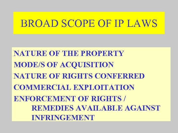 BROAD SCOPE OF IP LAWS NATURE OF THE PROPERTY MODE/S OF ACQUISITION NATURE OF