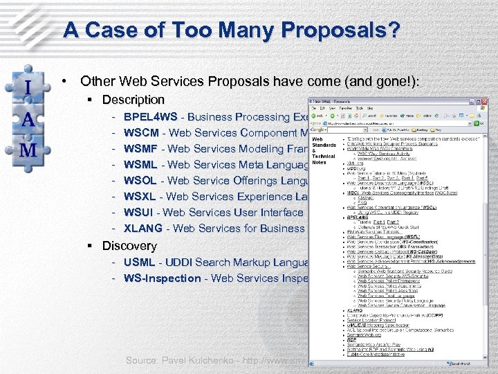 A Case of Too Many Proposals? • Other Web Services Proposals have come (and