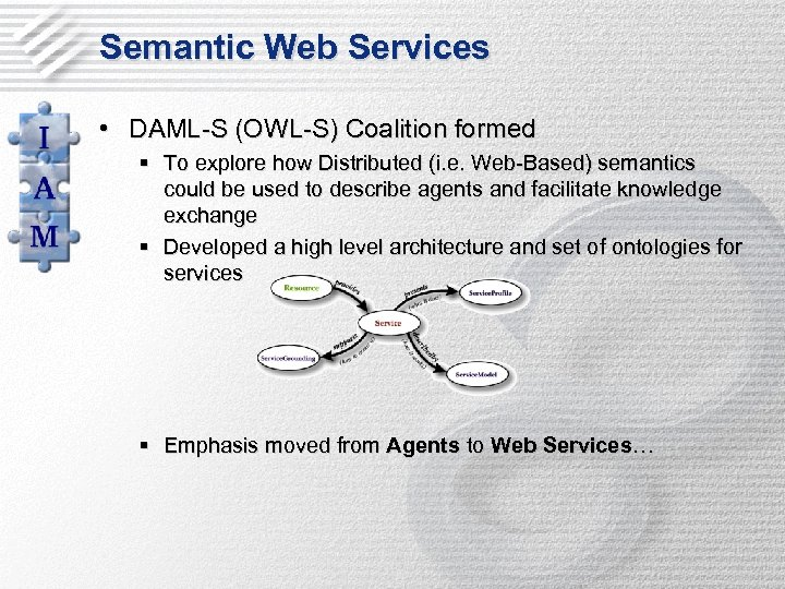 Semantic Web Services • DAML-S (OWL-S) Coalition formed § To explore how Distributed (i.