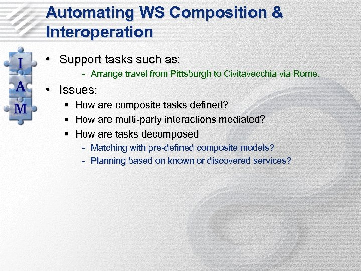 Automating WS Composition & Interoperation • Support tasks such as: - Arrange travel from