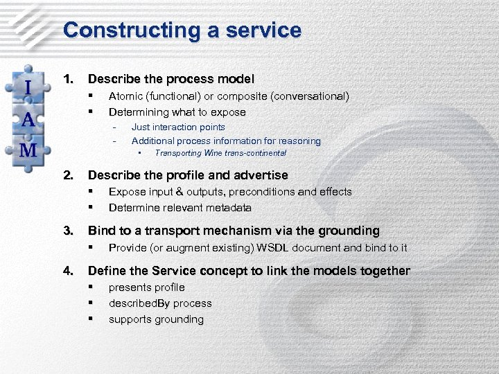 Constructing a service 1. Describe the process model § § Atomic (functional) or composite