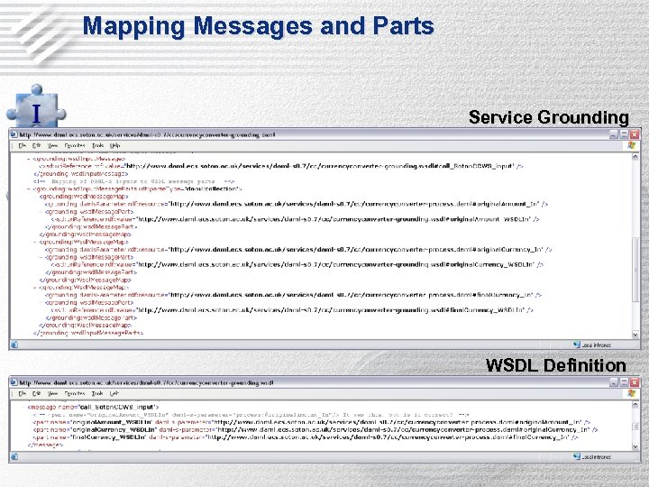 Mapping Messages and Parts Service Grounding WSDL Definition