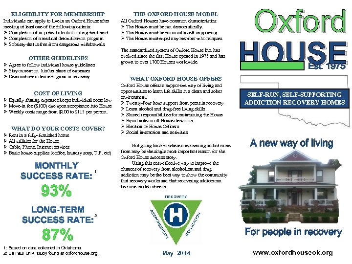 ELIGIBILITY FOR MEMBERSHIP Individuals can apply to live in an Oxford House after meeting