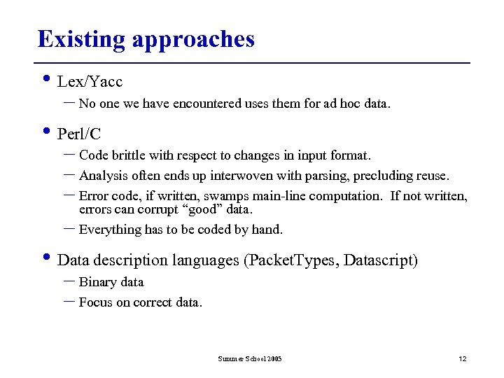 Existing approaches • Lex/Yacc – No one we have encountered uses them for ad