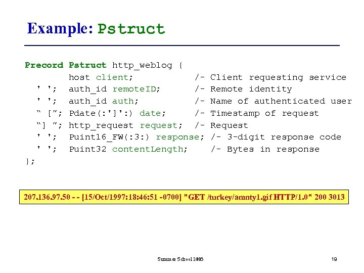 Example: Pstruct Precord Pstruct http_weblog { host client; /' '; auth_id remote. ID; /'