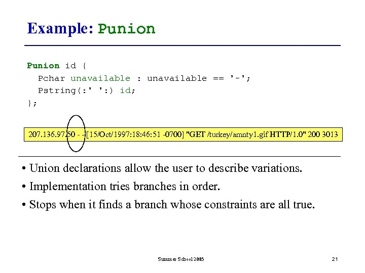 Example: Punion id { Pchar unavailable : unavailable == '-'; Pstring(: ' ': )
