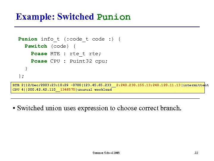Example: Switched Punion info_t (: code_t code : ) { Pswitch (code) { Pcase