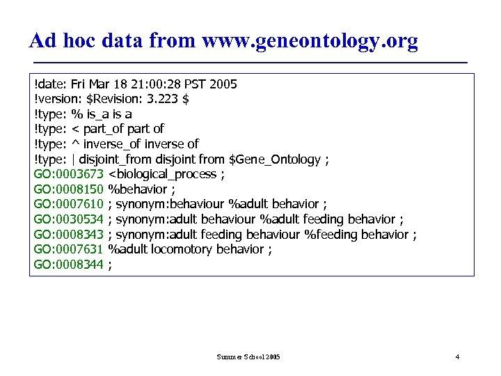 Ad hoc data from www. geneontology. org !date: Fri Mar 18 21: 00: 28