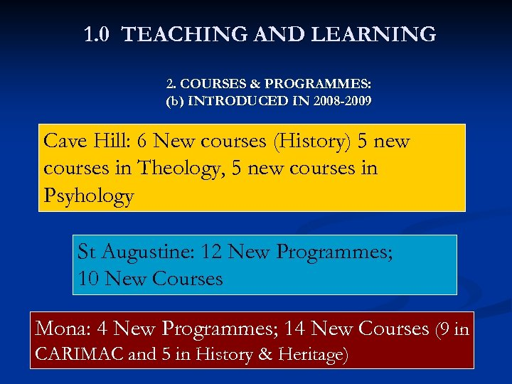 1. 0 TEACHING AND LEARNING 2. COURSES & PROGRAMMES: (b) INTRODUCED IN 2008 -2009