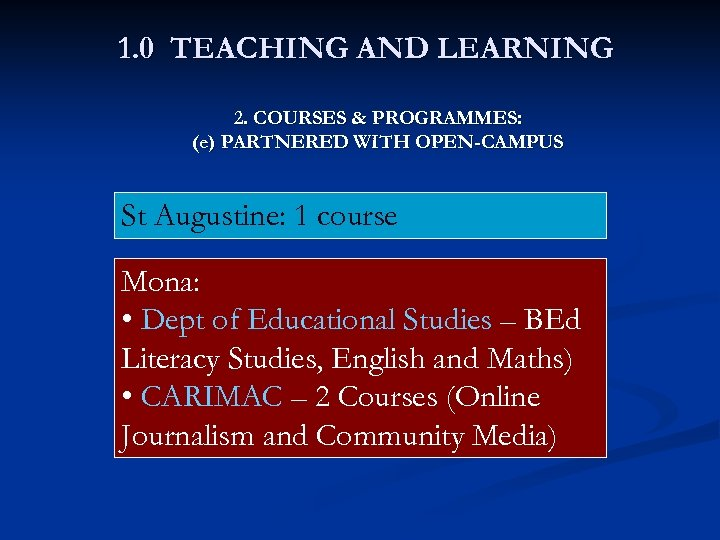 1. 0 TEACHING AND LEARNING 2. COURSES & PROGRAMMES: (e) PARTNERED WITH OPEN-CAMPUS St
