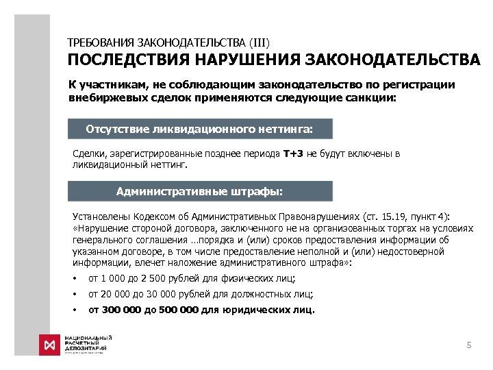 ТРЕБОВАНИЯ ЗАКОНОДАТЕЛЬСТВА (III) ПОСЛЕДСТВИЯ НАРУШЕНИЯ ЗАКОНОДАТЕЛЬСТВА К участникам, не соблюдающим законодательство по регистрации внебиржевых