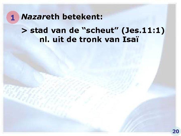 """1 Nazareth betekent: > stad van de """"scheut"""" (Jes. 11: 1) nl. uit de"""
