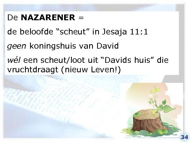 """De NAZARENER = de beloofde """"scheut"""" in Jesaja 11: 1 geen koningshuis van David"""