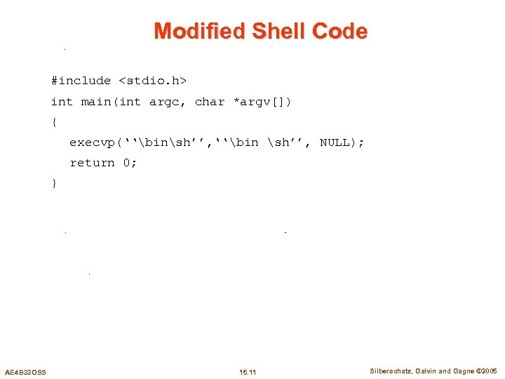 Modified Shell Code #include <stdio. h> int main(int argc, char *argv[]) { execvp(''binsh'', ''bin