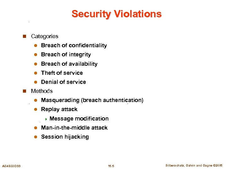 Security Violations n Categories l Breach of confidentiality l Breach of integrity l Breach