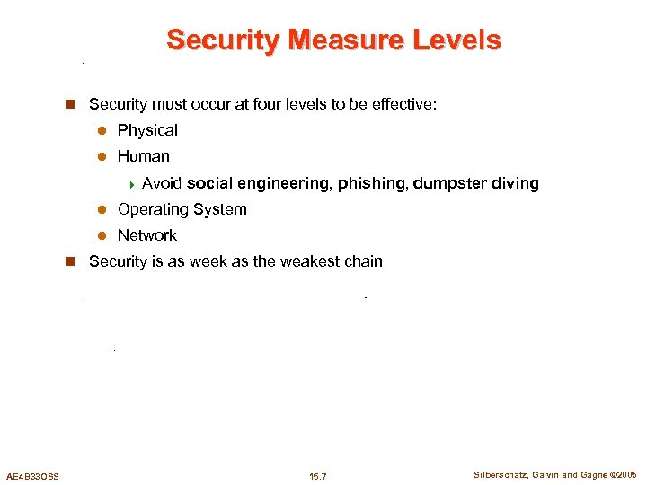 Security Measure Levels n Security must occur at four levels to be effective: l