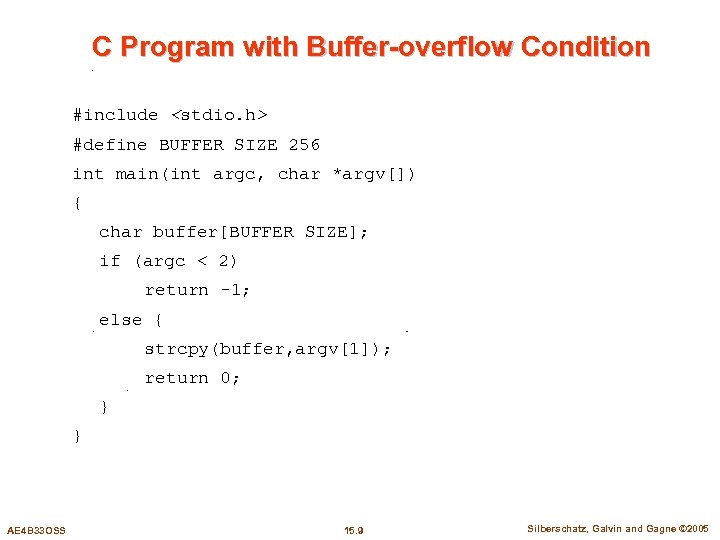C Program with Buffer-overflow Condition #include <stdio. h> #define BUFFER SIZE 256 int main(int